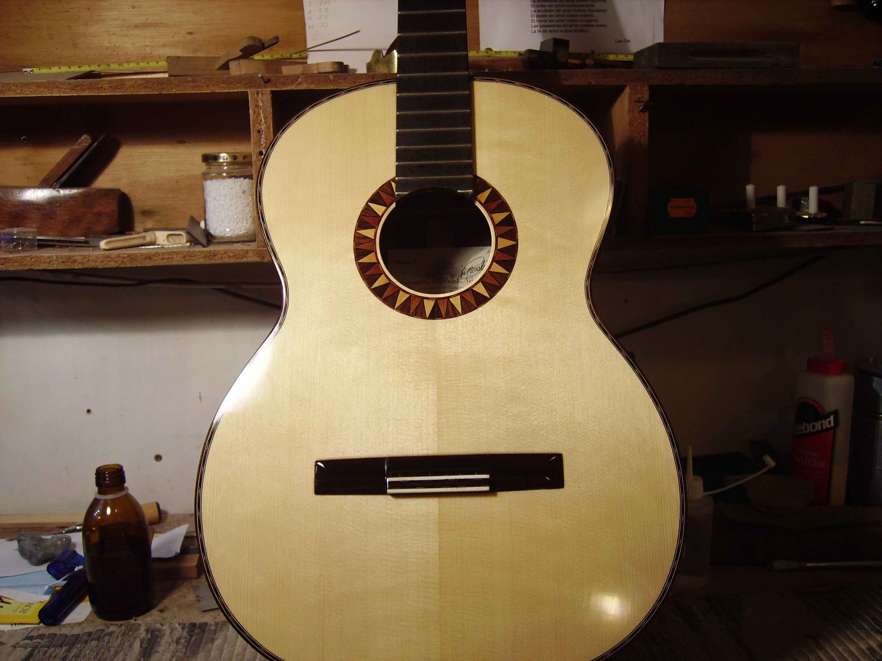 Rosewood and spruce guitar Sun rosette decoration