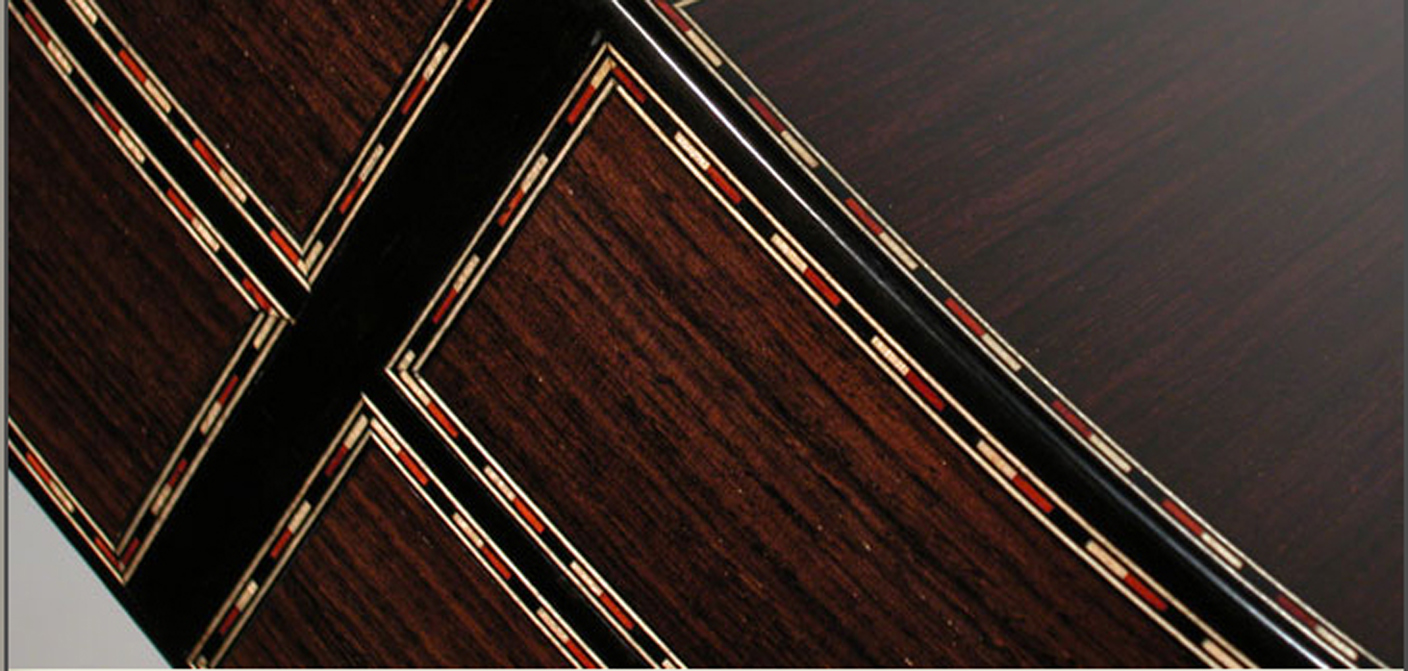 Cedar and rosewood guitar sides decorations