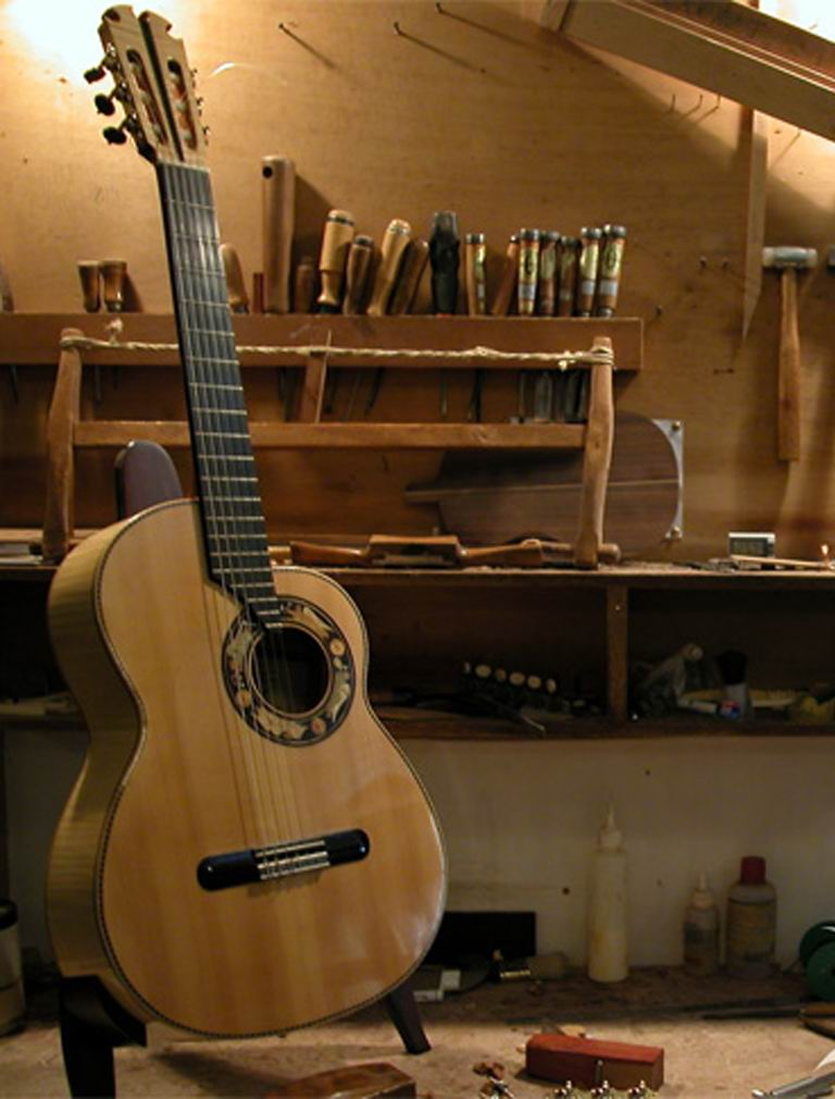 Maple and spruce guitar with cutaway