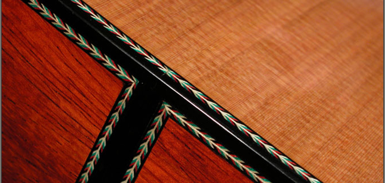 Cedar and padouk guitar spikes decoration