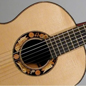 Front of a concert spanish guitar